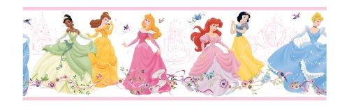 York Wallcoverings Disney Kids DK5946BD - Cenefa, diseño de princesa, color blanco, Muestra, blanco (White .23)