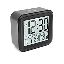 HeQiao Slim Large LCD Alarm Clock Digital Calendar Day Clock Silent Snooze Desk Shelf Clocks Battery Operated for Home Office(Timer & Temperature Function)-Black