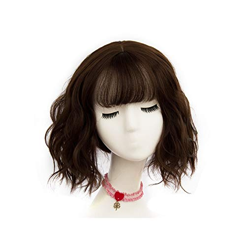 Short Wigs Natural Hair For Women Black Brown Gray Synthetic African American Wigs High Temperature Fiber,WS 05 F 8,12inches]()