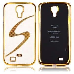 Golden Edge with S Pattern Skin Hard Case for Samsung SIV S4 I9500 White