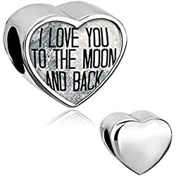 Q&Charms I Love You To The Moon And Back Heart Photo Charm Beads Fit Pandora Chamilia Charms Bracelet Valentine's Day Gifts Idea