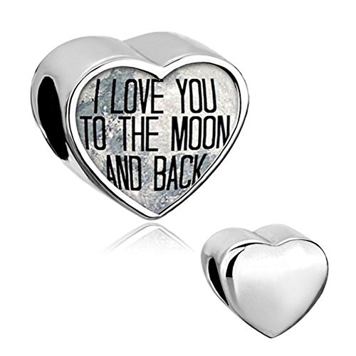 Q&Charms I Love You To The Moon And Back Heart Photo Charm Beads Fit Pandora Chamilia Charms Bracelet