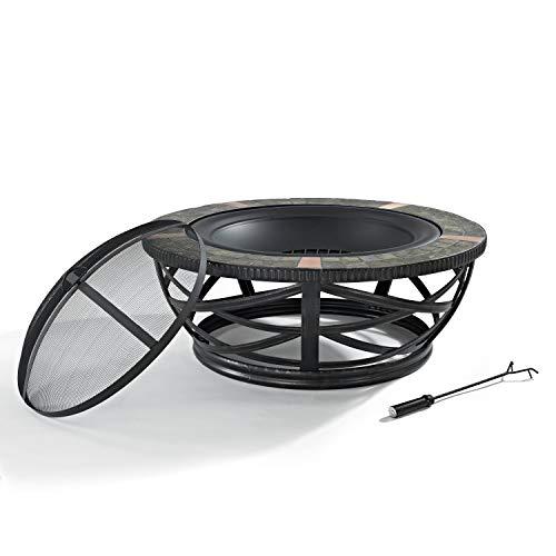 Crosley Furniture Glendale Round Outdoor Slate Fire Pit - Black (Glendale Furniture)
