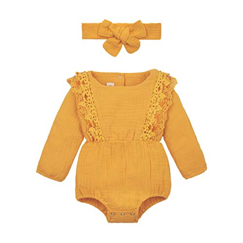 YALLET Newborn Baby Girl Clothes Baby Girl Romper Infant Girl Clothes+Headband