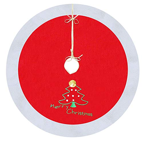 Mosoan 40 Red and White Christmas Tree Skirt with Embroidered Merry Christmas and Christmas Tree Sign - Traditional Velvet Holiday Christmas Decorations - 40 inches