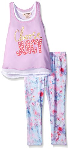Juicy Couture Big Girls' Chiffon Top and Printed Stretch Jersey Pants, Orchid, -