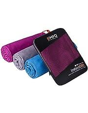 EMPO Toalla Grande Microfibra de 140cm x 80cm Toalla Deportiva con Bolsa para traslado – Súper Absorbente, de Secado rápido, compacta y Liviana, máximo Confort – de Color Azul