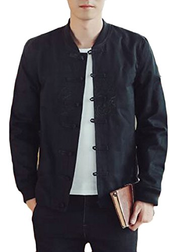 security Black Sleeve Fu Jacket Fashion Kung Linen Button Frog Men's Hooded Causal Long Jacket RxRSHr