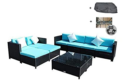 Amazon Com Patio Sofa Clearance Couch 10pcs Outdoor Rattan Wicker