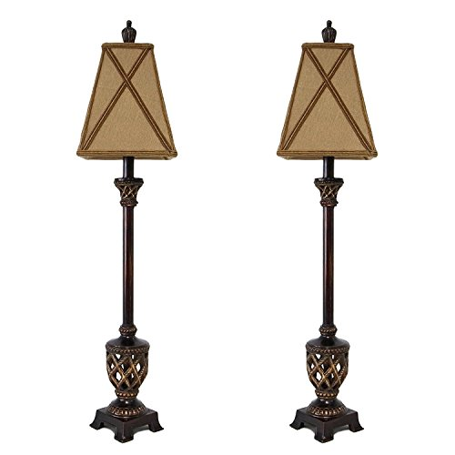 Set of 2 Buffet Lamps pair with Traditional Square Shades and Carved Lace Base 35