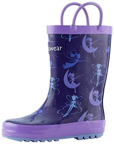 OAKI Kids Rubber Rain Boots with Easy-On Handles, Fairy Dust, 5T US Toddler