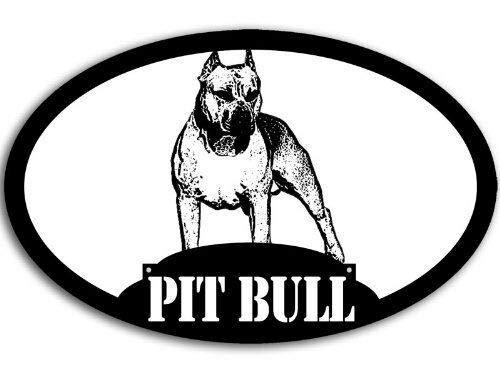 MAGNET 3x5 inch Oval Pit Bull Sticker (Terrier Dog Love Staffordshire Pitt) Magnetic vinyl bumper sticker sticks to any metal fridge, car, signs