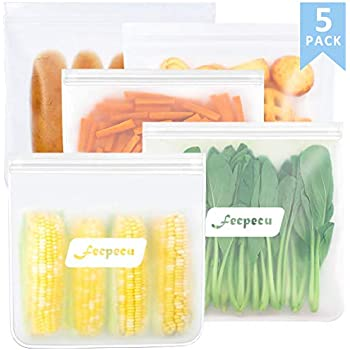 Reusable Gallon Freezer Bags - 5 Packs 1 Gallon Ziplock Leakproof Reusable Gallon Bags EXTRA THICK for Marinate Meats, Fruit, Snack, Vegetable, Sandwich, Cereal, Home Organization