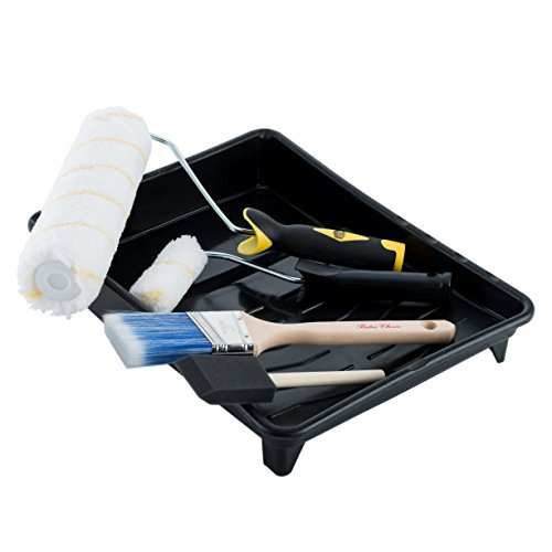 Painting kit consist of paint brush, paint tray, roller and other supplies.