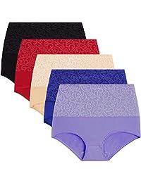 a4c8f5267133 YaShaer Womens High Waist Cotton Briefs Underwear Tummy Control Panties(5~6  Pack