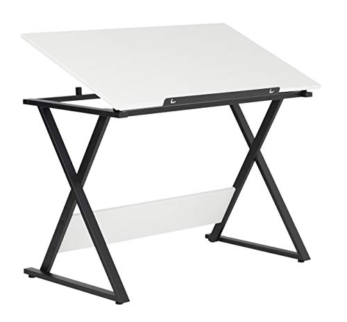 SD STUDIO DESIGNS Studio Designs 13353 Axiom Modern Art, Drawing, Crafting, Drafting, 42-Inch Wide MDF Adjustable Angle Top Table in Charcoal/White, W x 24