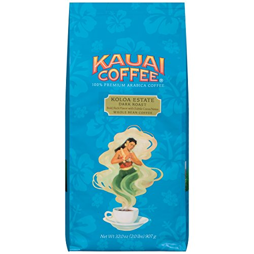 Kauai Whole Bean Coffee, Koloa Estate Dark Roast – 100% Premium Arabica Whole Bean Coffee from Hawaii's Largest Grower - Bold, Rich Flavor with Nutty Notes and Sweet Chocolate Overtones (32 Ounces) by Kauai