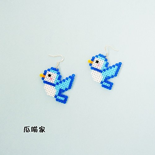 Meow hand of melon fight for pixel mosaic beans Ja and South Korea cute bird fun 925 silver earrings ear clip