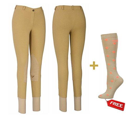 TuffRider Women Starter Lowrise Pull On Breeches with FREE Polka Dot Socks | Women's UltraGripp Knee Patch Horse Riding Pants | FREE Boot Socks - LightTan - 32