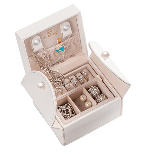 (Vlando Small Travel Jewelry Box Organizer, Stud Closing & 2-Layer Storage for Earrings Rings Necklaces - Best Gifts for Girls Women Ladies (White))