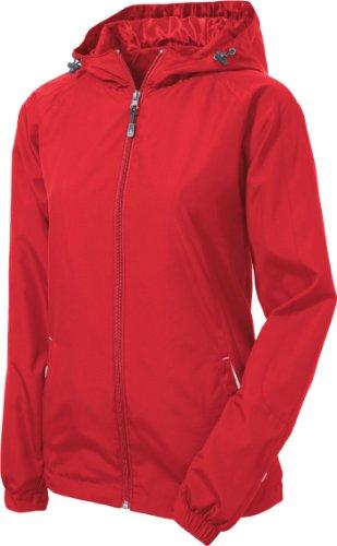 Sport-Tek - Ladies Colorblock Hooded Windbreaker Jacket. LST76,Large,True Red / White