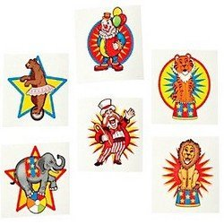 Pack of 12 - Circus Big Top Temporary Tattoos - Great Party Loot Bag Fillers MunchieMoosKids