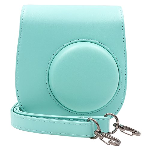 Ablus Instant Camera PU Leather Case Bag for Fujifilm Instax Mini 8 8+ 9 Instant Film Camera with Shoulder Strap(Mint)
