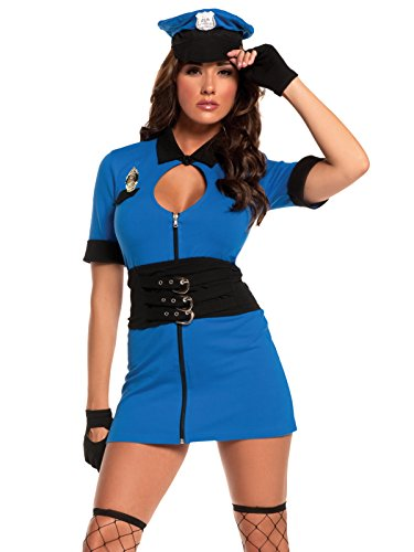 Cop Couple Costumes (Womens 4 Piece Cop Halloween Costumes with Blue Mini Dress and Accessories Sizes: Medium)