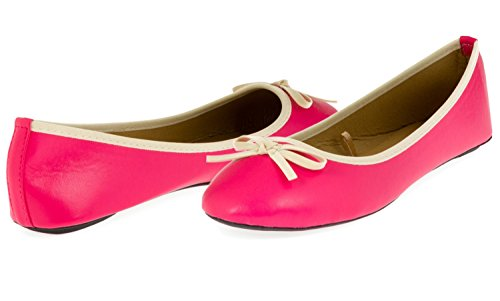 Chatties Ladies Ballet Flat With Microsuede Bow (Coral/Tan), Size 9 / 10
