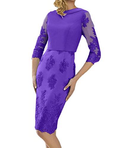 Lila Abendkleider Etuikleider Spitze mit Damen Festlichkleider Knielang Blau Langarm Charmant Brautmutterkleider 1tORqvpxtw