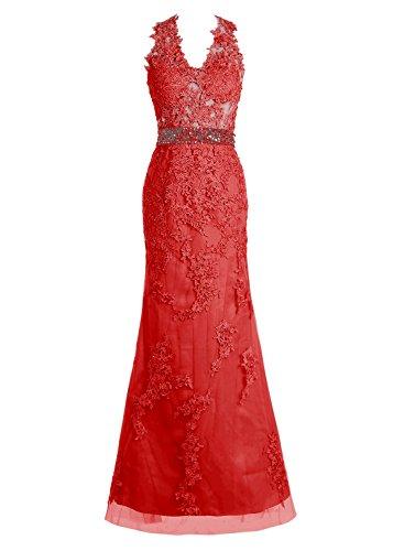 Bbonlinedress Vestidos De fiesta Largos De Noche Con Aplicaciones Tul Elegantes Rojo