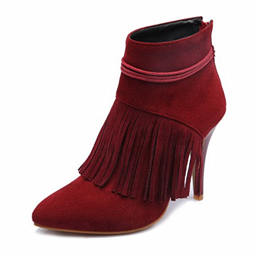AllhqFashion Women's Imitated Suede Spikes Stilettos Pointed Closed Toe Fringed Zipper Boots, Red, 34 ()