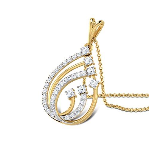 18K Or Blanc 0,4CT TW Round-cut-diamond (IJ | SI) Pendentif