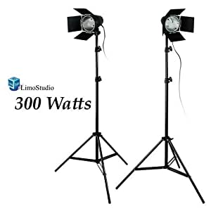 LimoStudio 2Pcs Photo Video Studio Continuous Light Lighting kit, Studio Barn Door Light Head with JDD Light Bubls, LMS682