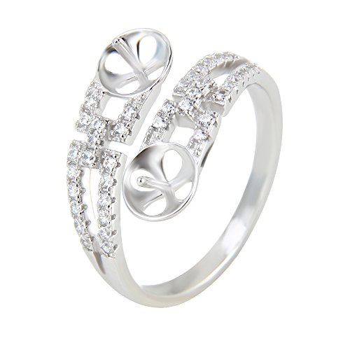 2pcs Elegant 925 Sterling Silver Adjustable Pearl Ring Accessories with Shiny Zircons for Women ()