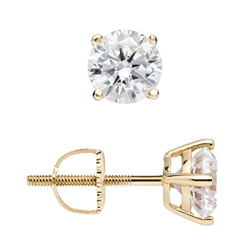 14K Solid Yellow Gold Stud Earrings | Round Cut Cubic Zirconia | Screw Back Posts | 1.0 CTW | With Gift Box