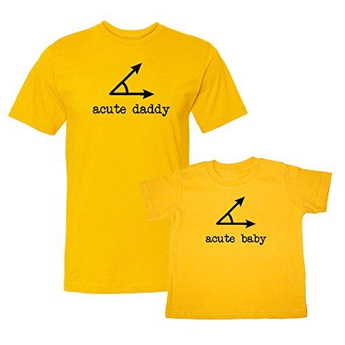 We Match! Acute (A Cute) Daddy & Acute (A Cute) Baby Acute Angles Matching Adult T-Shirt & Child T-Shirt Set (12M T-Shirt, Adult T-Shirt 3XL, Gold)