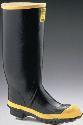 Ranger 16 Heavy-Duty Mens Rubber Work Boots with Steel Toe and Steel Midsole, Black & Yellow (2144)