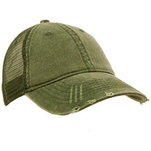 (Unisex Distressed Low Profile Trucker Mesh Summer Baseball Sun Cap Hat Olive)