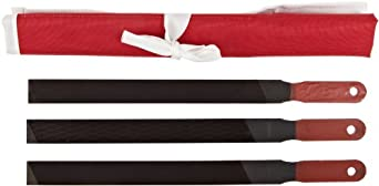 Simonds 3 Piece Hand File Set with Paddle Handles, American Pattern, Rectangular, Black Oxide Coating