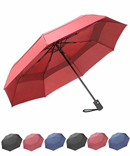 Nylon Windproof Umbrella (SY COMPACT Travel Umbrella Windproof Double Canopy Automatic Umbrellas (Red))