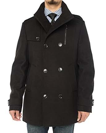 Luciano Natazzi Men's Stylish Top Coat Classic Double Breasted Pea Coat (36 US - 46 EU, Black)