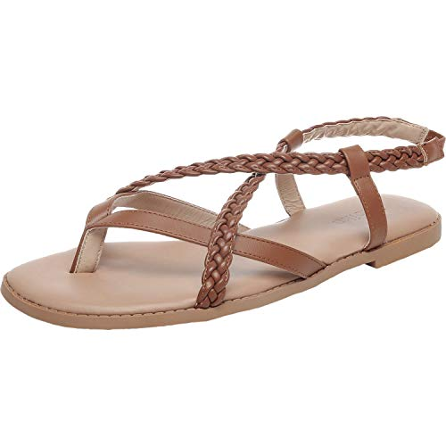 - Luoika Women's Wide Width Flat Sandals - Braided Strap Elastic Back Band Cozy Summer Shoes.(181135,Brown,6)