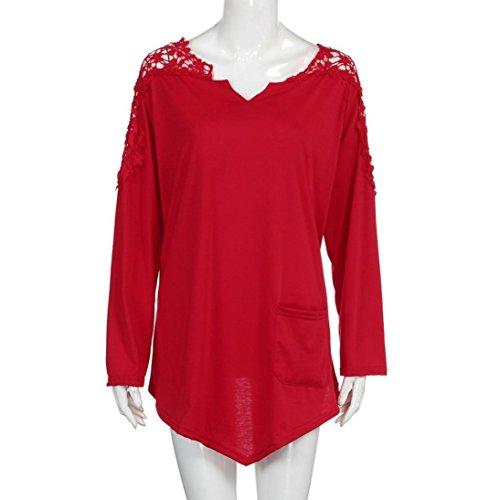Pizzo taglia Ladies Tops Yumm Casuale T Shirt Grossa Camicetta Top Rosso Estate Donna FwBBgYxA