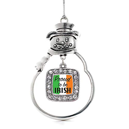 Inspired Silver - Proud to be Irish Charm Ornament - Silver Square Charm Snowman Ornament with Cubic Zirconia - Snowman Irish