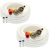 (2) Pack of 60ft Pre-made Siamese All-in-One Video and Power BNC RCA Cable with BNC to RCA Connector for CCTV Security Camera System