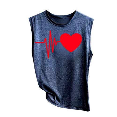 Sunhusing Women's ECG Heart Print Sleeveless Vest Solid Color T-Shirt Top Casual Sport Shirt