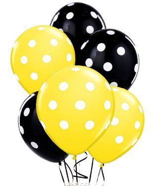 Polka Dot Balloons 11inch Premium Black and Yellow with All-Over Print White Dots Pkg/25