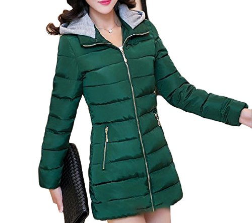AGAING 3XL Down Women's Longline Fit Green Army Basic Simplicity Slim Cotton Hooded PPxqB86wr