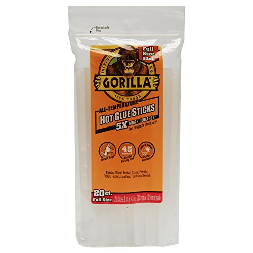 Gorilla 3032016 Hot Glue Sticks 8' Full Size (20 Count), Clear